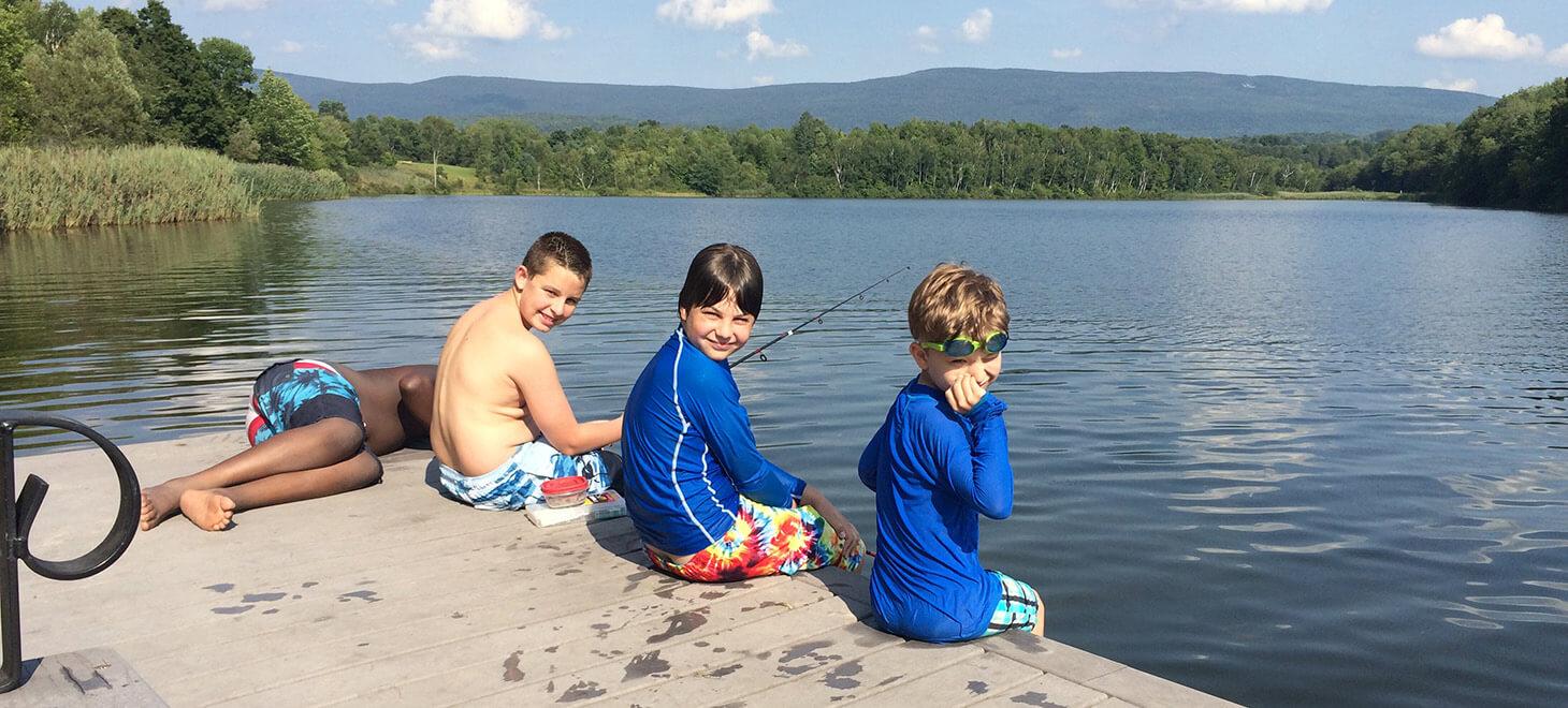 Boys fishing at Lake Paran