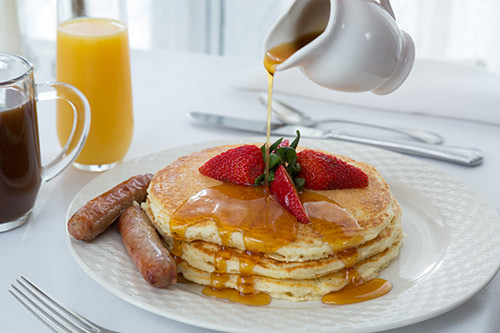 pancakes with vermont maple syrup
