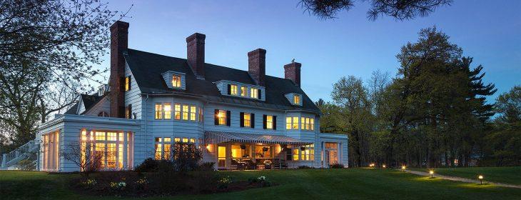 Four Chimneys Romantic Vermont Inn exterior at night