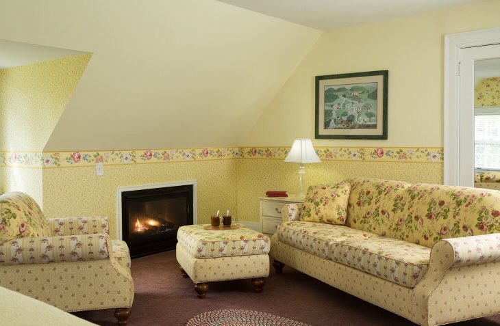 Sitting area and fireplace in Room 5 at our Bennington Bed and Breakfast