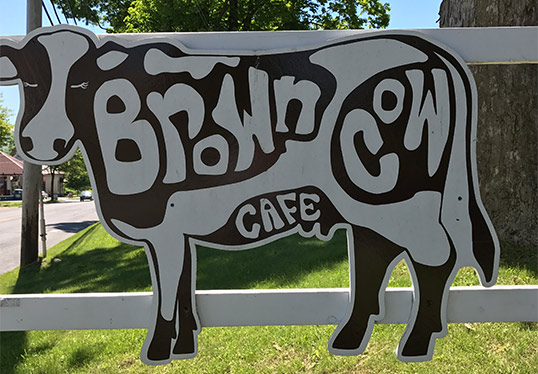 Brown Cow Cafe sign