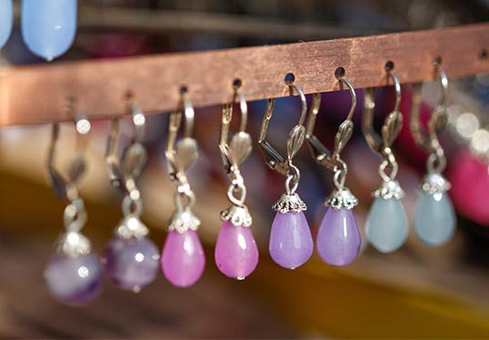 Earrings in a store