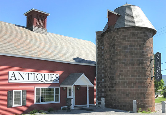 Green Mountain Antiques in Bennington VT exterior view with silo