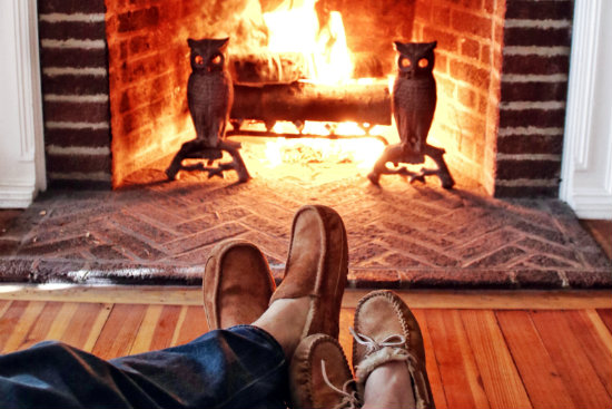 A cozy fireplace is perfect for winter getaways in Vermont
