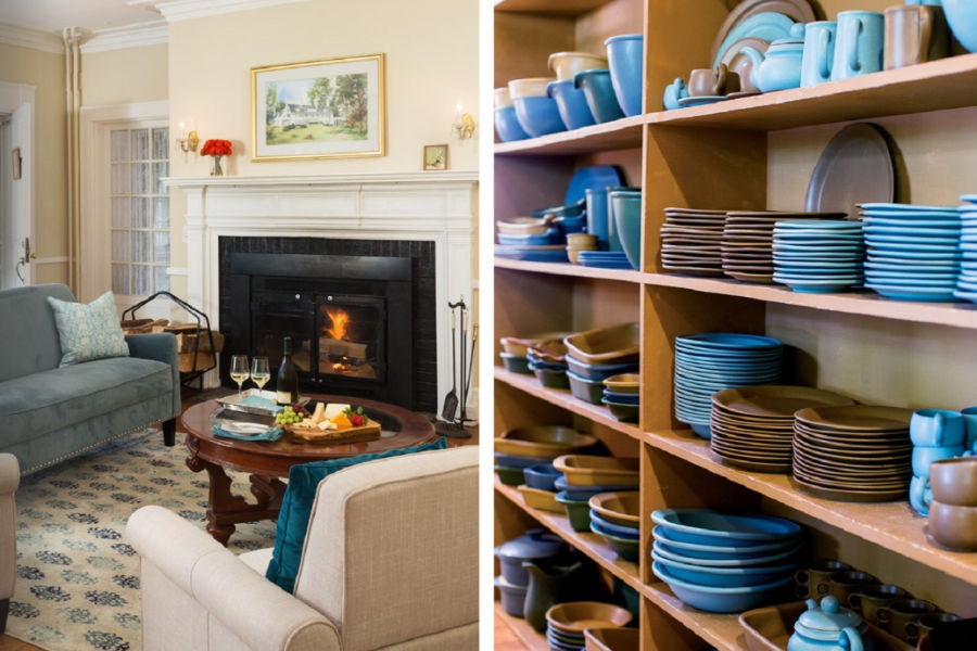 Living room and plate cabinet at Four Chimneys