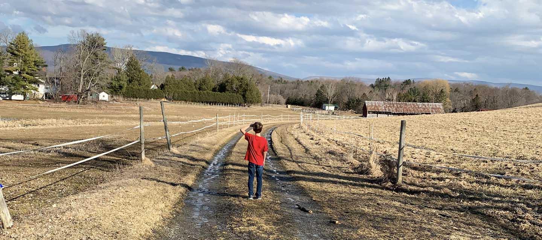 mile around woods vermont hike boy in pasture red shirt