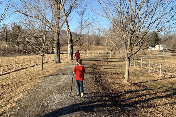 vermont hiking trail boy dad spring day