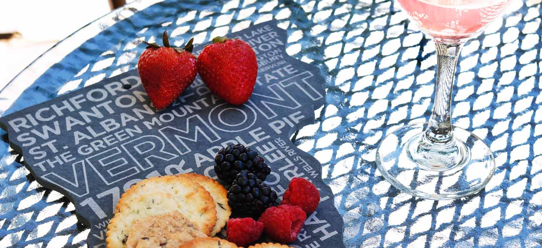 vermont shaped slate cheese board berries wine