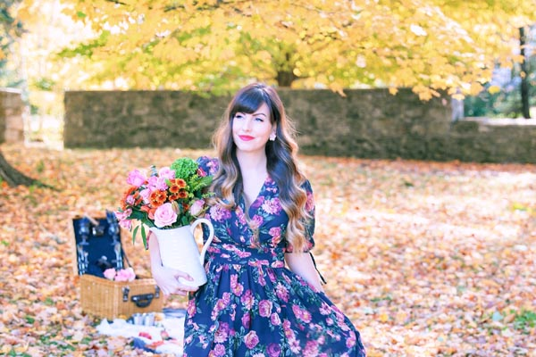 girl floral dress picnic vermont foliage Jessica Frappampina