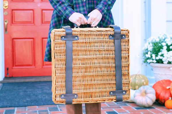 stylish woman green plaid dress picnic basket